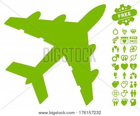 Bomber pictograph with bonus valentine symbols. Vector illustration style is flat iconic eco green symbols on white background.