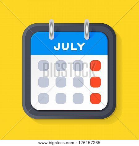Vector calendar web icon office organizer business graphic paper plan appointment and pictogram reminder element for event meeting or deadline illustration. Modern spiral schedule deadline sign.