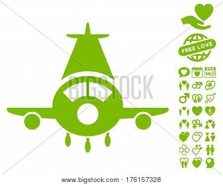 Cargo Plane icon with bonus lovely symbols. Vector illustration style is flat iconic eco green symbols on white background.