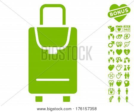 Carryon icon with bonus lovely images. Vector illustration style is flat iconic eco green symbols on white background.