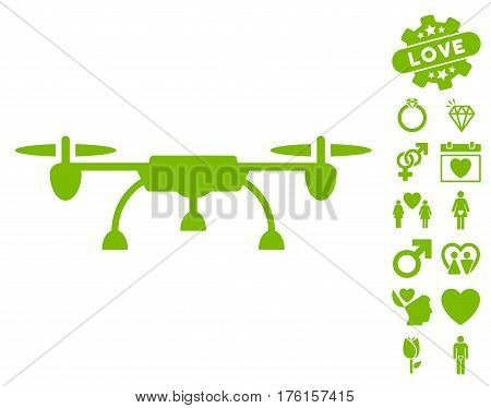 Drone pictograph with bonus valentine graphic icons. Vector illustration style is flat iconic eco green symbols on white background.