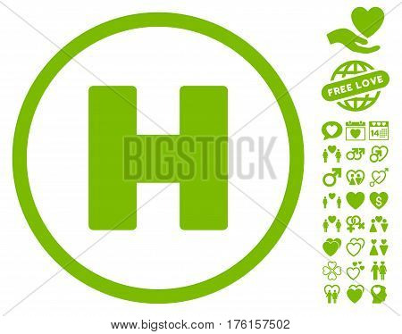 Helicopter Landing pictograph with bonus love images. Vector illustration style is flat iconic eco green symbols on white background.