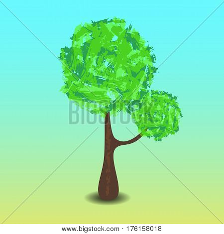 Green tree vector illustration with hand-painted leaf crown. Handdrawn tree with shadow. Summer tree with branches and leaf in cartoon style. Tall tree with round greenery. Forest element. Earth day