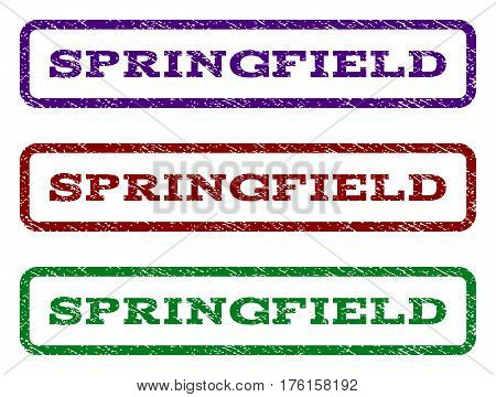 Springfield watermark stamp. Text tag inside rounded rectangle with grunge design style. Vector variants are indigo blue, red, green ink colors. Rubber seal stamp with unclean texture.