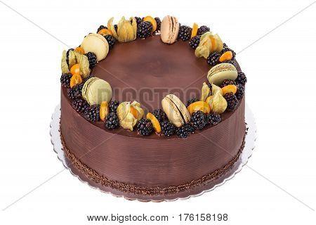 A festive chocolate birthday cake. Of Blackberries
