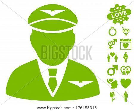 Pilot pictograph with bonus valentine design elements. Vector illustration style is flat iconic eco green symbols on white background.