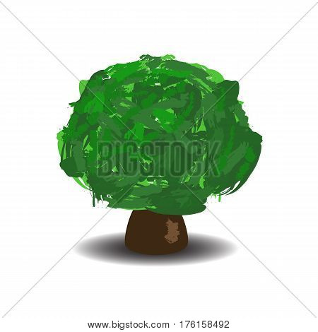 Green tree with brush textured crown. Vector illustration on white background. Handdrawn oak tree with shadow isolated. Summer tree cartoon style. Wide tree isolated. Forest element. Earth day banner
