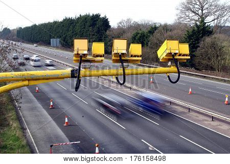 Fleet, Hampshire, Uk - March 11Th 2017: Average Speed Cameras In Operation On The M3 Motorway With I