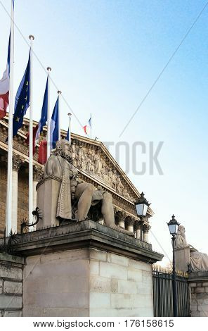 The Building of French National Assembly, Bourbon palace, Paris, France.