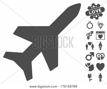 Aeroplane icon with bonus valentine pictograph collection. Vector illustration style is flat iconic gray symbols on white background.