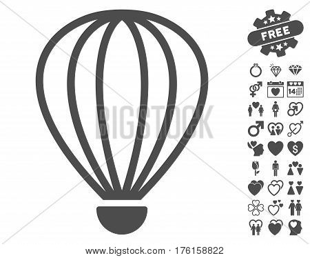 Aerostat pictograph with bonus love pictures. Vector illustration style is flat iconic gray symbols on white background.