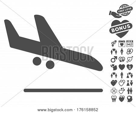 Aiplane Landing pictograph with bonus lovely design elements. Vector illustration style is flat iconic gray symbols on white background.