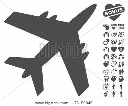Aircraft pictograph with bonus dating design elements. Vector illustration style is flat iconic gray symbols on white background.