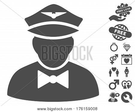 Airline Steward pictograph with bonus lovely pictograph collection. Vector illustration style is flat iconic gray symbols on white background.