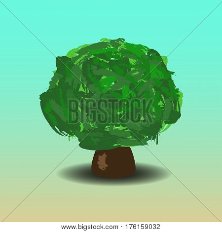 Green oak tree vector illustration with hand-painted leaf crown. Handdrawn tree with shadow. Summer tree cartoon style. Wide tree isolated. Forest element. Earth day banner template with text place