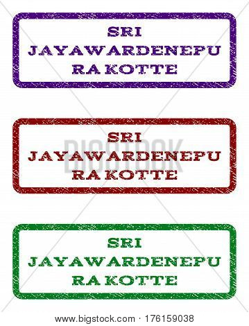 Sri Jayawardenepura Kotte watermark stamp. Text tag inside rounded rectangle frame with grunge design style. Vector variants are indigo blue, red, green ink colors.