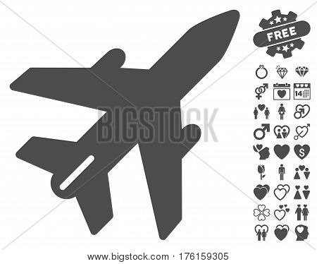 Airplane pictograph with bonus valentine pictograms. Vector illustration style is flat iconic gray symbols on white background.