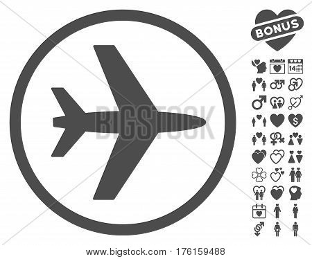 Airport pictograph with bonus lovely pictures. Vector illustration style is flat iconic gray symbols on white background.