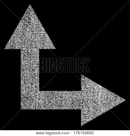 Bifurcation Arrow Right Up vector textured icon for overlay watermark stamps. Fabric white vectorized texture. Symbol with dirty design. Rubber seal stamp with fiber textile structure.