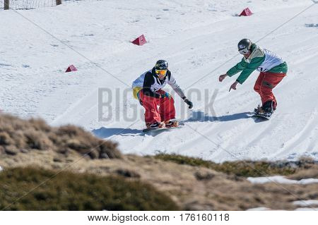 Michael Cruz And Tiago Sousa During The Snowboard National Championships