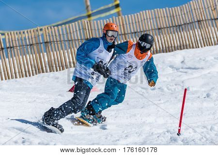 Tomas Longo And Alexandre Sousa During The Snowboard National Championships