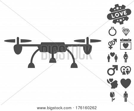 Drone icon with bonus dating pictures. Vector illustration style is flat iconic gray symbols on white background.