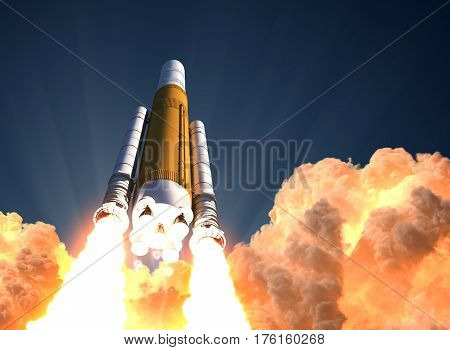 Heavy Rocket Launch In The Clouds Of Fire. 3D Illustration.