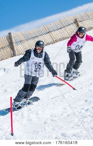 Dorit Clasing And Tim Clasing During The Snowboard National Championships