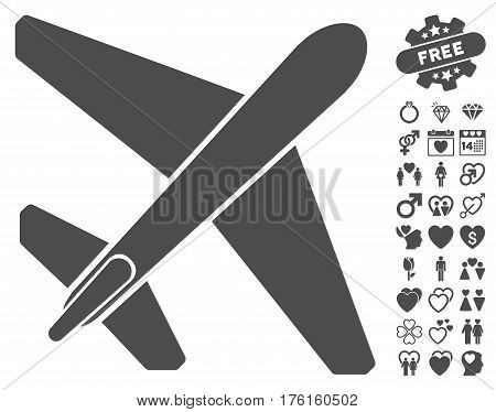 Jet Airplane icon with bonus valentine pictograph collection. Vector illustration style is flat iconic gray symbols on white background.