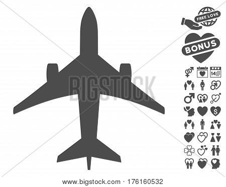 Jet Plane pictograph with bonus lovely pictograms. Vector illustration style is flat iconic gray symbols on white background.