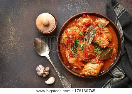 Chakhokhbili - Chiken Stew With Garlic And Cilantro (parsley) In Tomato Sauce.top View With Copy Spa