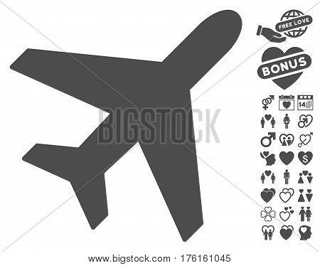 Plane pictograph with bonus lovely icon set. Vector illustration style is flat iconic gray symbols on white background.