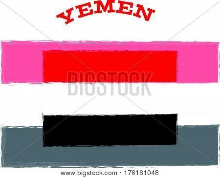 Yemen flag on white background. Vector illustration.