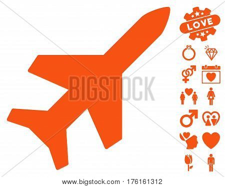 Aeroplane icon with bonus lovely design elements. Vector illustration style is flat iconic orange symbols on white background.