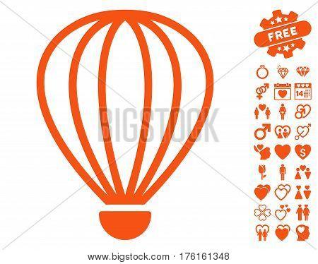Aerostat pictograph with bonus love images. Vector illustration style is flat iconic orange symbols on white background.