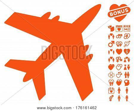 Aircraft icon with bonus lovely symbols. Vector illustration style is flat iconic orange symbols on white background.