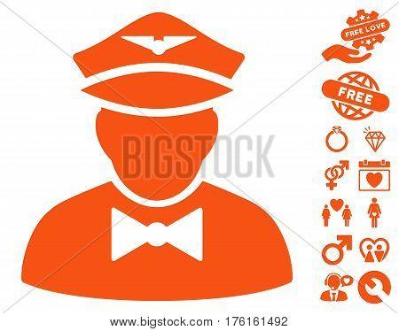 Airline Steward icon with bonus lovely pictograms. Vector illustration style is flat iconic orange symbols on white background.