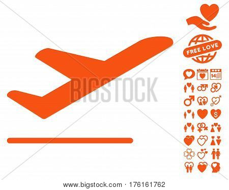 Airplane Departure pictograph with bonus dating pictograph collection. Vector illustration style is flat iconic orange symbols on white background.