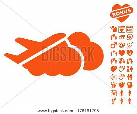 Airplane Over Clouds pictograph with bonus dating images. Vector illustration style is flat iconic orange symbols on white background.