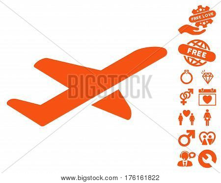 Airplane Takeoff pictograph with bonus love clip art. Vector illustration style is flat iconic orange symbols on white background.