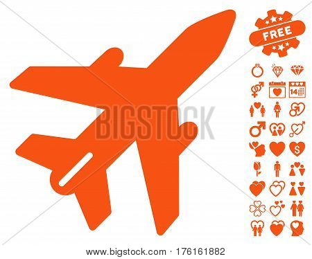 Airplane icon with bonus lovely pictures. Vector illustration style is flat iconic orange symbols on white background.