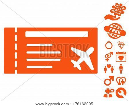 Airticket icon with bonus lovely clip art. Vector illustration style is flat iconic orange symbols on white background.
