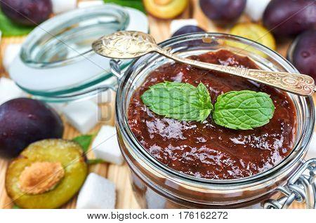 Plum jam in a jar. Homemade fruit jam