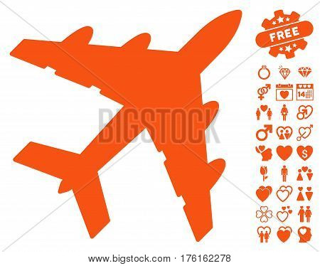 Bomber pictograph with bonus dating images. Vector illustration style is flat iconic orange symbols on white background.