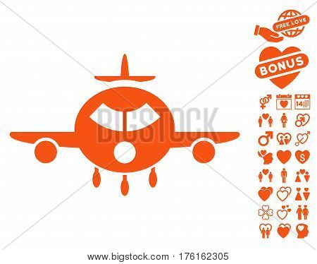 Cargo Aircraft pictograph with bonus dating pictograms. Vector illustration style is flat iconic orange symbols on white background.