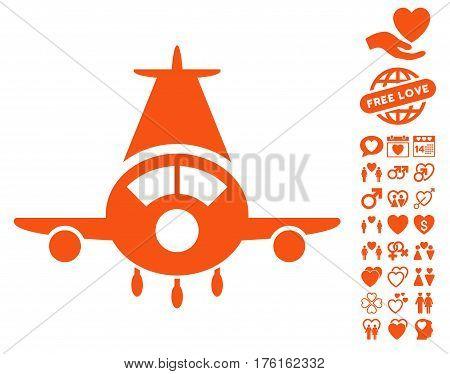 Cargo Plane icon with bonus love pictograph collection. Vector illustration style is flat iconic orange symbols on white background.