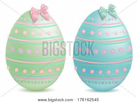 beautiful pastel painted and decorated illustrated easter eggs isolated on white background
