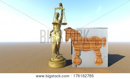 Trojan horse and computer. Law conception. 3d rendering