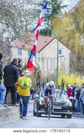 Conflans-Sainte-HonorineFrance-March 62016: The Luxembourgish cyclist Laurent Didier of Trek-Segafredo Team riding during the prologue stage of Paris-Nice 2016.