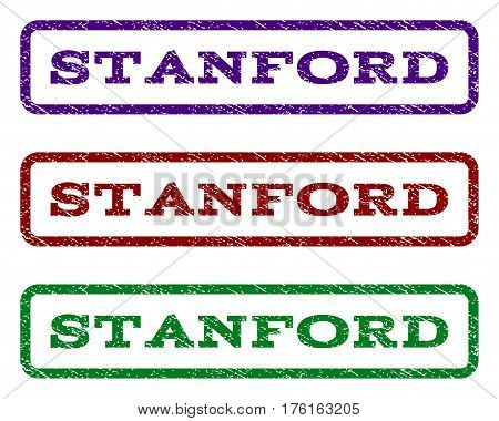 Stanford watermark stamp. Text tag inside rounded rectangle frame with grunge design style. Vector variants are indigo blue, red, green ink colors. Rubber seal stamp with scratched texture.